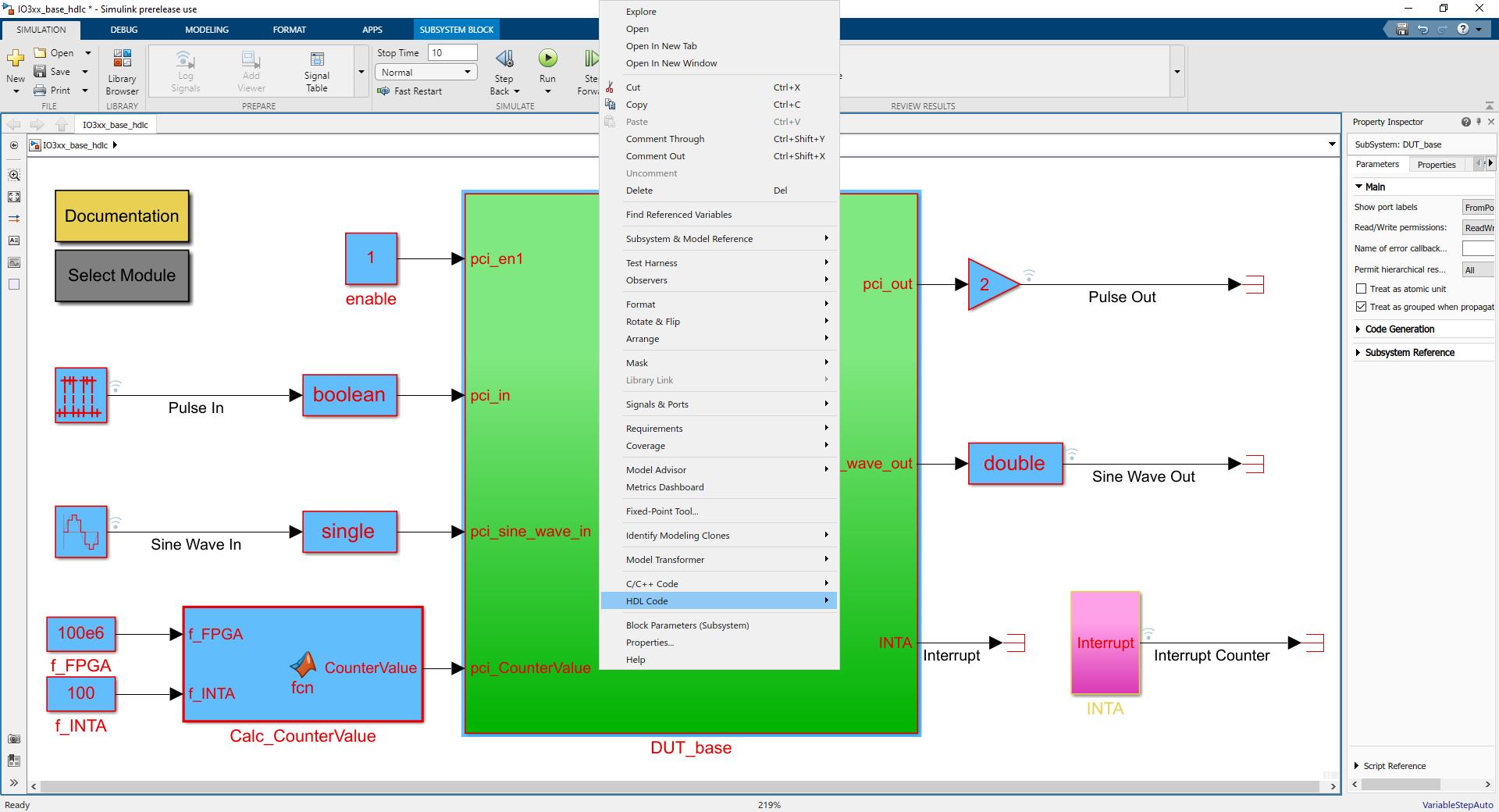 HDL Workflow Advisor Settings / Workflow / Speedgoat - HDL